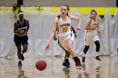 Sheehan's Caroline Dighello pushes up court in transition Friday at Sheehan High School in Wallingford December 29, 2017 | Justin Weekes / Special to the Record-Journal