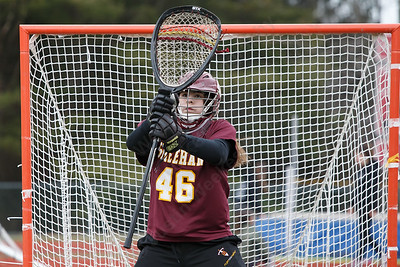Sheehan's Kaitlin Mills warms up Thursday at Sacred Heart Academy in Hamden April 12, 2018   Justin Weekes / Special to the Record-Journal