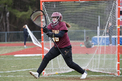 Sheehan's Kaitlin Mills warms up before facing Sacred Heart Thursday at Sacred Heart Academy in Hamden April 12, 2018   Justin Weekes / Special to the Record-Journal