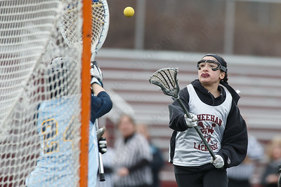 Sheehan's Renae Musco scores during a scrimmage with Westover Wednesday at Sheehan High School in Wallingford March 28, 2018   Justin Weekes / Special to the Record-Journal