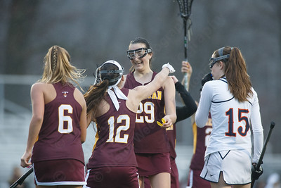 Sheehan celebrates Carlee Crispens goal Friday at Lyman Hall High School in Wallingford April 27, 2018   Justin Weekes / Special to the Record-Journal