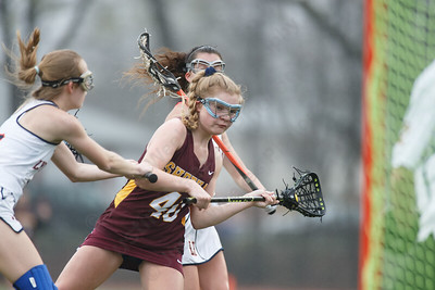 Sheehan's Molly Donegan gets a shot on goal Friday at Lyman Hall High School in Wallingford April 27, 2018   Justin Weekes / Special to the Record-Journal