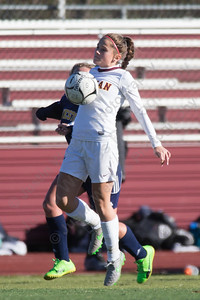 Sheehan's Kara Sullivan settles a throw in Saturday during the CIAC Class M quarterfinals at Riccitelli Field on the campus of Sheehan High School in Wallingford November 11, 2017 | Justin Weekes / For the Record-Journal