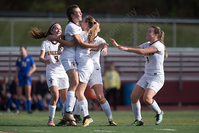 Sheehan celebrates Olivia Dubuc's goal Saturday at Riccitelli Field in Wallingford October 28, 2017 | Justin Weekes / For the Record-Journal