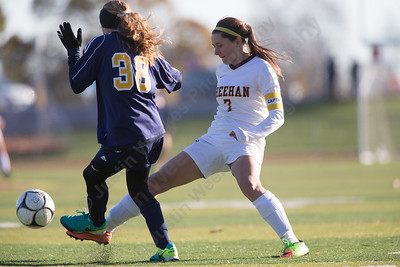 Sheehan's Christine Thorp challenges Weston's Ava Zielinski Saturday during the CIAC Class M quarterfinals at Riccitelli Field on the campus of Sheehan High School in Wallingford November 11, 2017 | Justin Weekes / For the Record-Journal