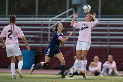 Sheehan's Julia Podchaiski plays a head ball Wednesday at Riccitelli Field in Wallingford October 25, 2017 | Justin Weekes / For the Record-Journal