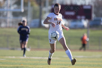 Sheehan's Olivia Dubuc settles a pass Saturday during the CIAC Class M quarterfinals at Riccitelli Field on the campus of Sheehan High School in Wallingford November 11, 2017 | Justin Weekes / For the Record-Journal