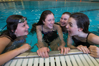Lyman Hall's Faith Gambardella left Sarah Beverage, Nicole Cislo and Katie Driscoll Thursday at Sheehan High School Pool in Wallingford November 16, 2017 | Justin Weekes / For the Record-Journal