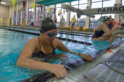 Sheehan's Carly Conchado gets set to start the 200 medley relay Tuesday at Sheehan High School Pool in Wallingford October 17, 2017 | Justin Weekes / For the Record-Journal