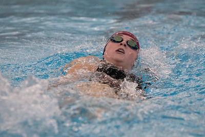 Sheehan's Katelyn Cosgrove swims the back stroke in the 200 individual medley Monday at Cheshire Community Pool in Cheshire September 18, 2017 | Justin Weekes / For the Record-Journal