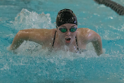 Sheehan's Katelyn Cosgrove in the 200 medley relay Tuesday at Sheehan High School Pool in Wallingford October 17, 2017 | Justin Weekes / For the Record-Journal