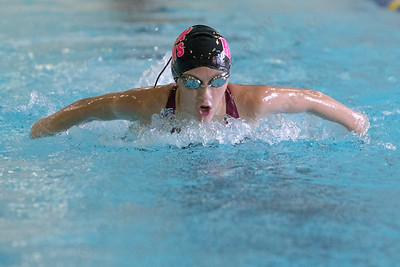 Sheehan's Rachel Kerrigan swims the butterfly in the 200 individual medley  Monday at Sheehan High School in Wallingford September 11, 2017 | Justin Weekes / For the Record-Journal