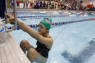 Sheehan's Amy Bui gets set to start the 200 medley relay Wednesday during the SCC swimming finals at the Hutchinson Natatorium on the campus of Southern Connecticut State University in New Haven November 1, 2017 | Justin Weekes / For the Record-Journal