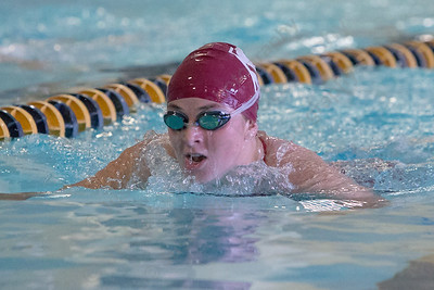 Sheehan's Katelyn Cosgrove swims the breast stroke in the 200 individual medley Monday at Sheehan High School in Wallingford September 11, 2017 | Justin Weekes / For the Record-Journal