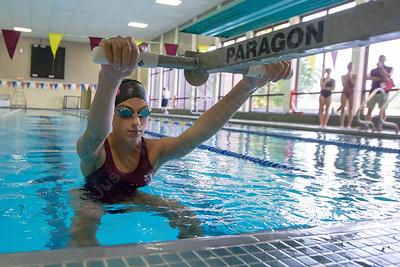 Sheehan's Rachel Kerrigan starts the 200 medley relay Monday at Sheehan High School in Wallingford September 11, 2017 | Justin Weekes / For the Record-Journal