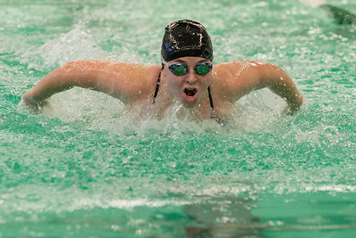 Sheehan's Katelyn Cosgrove swims the butterfly in the 200 medley relay Tuesday at Maloney High School pool in Meriden October 24, 2017 | Justin Weekes / For the Record-Journal