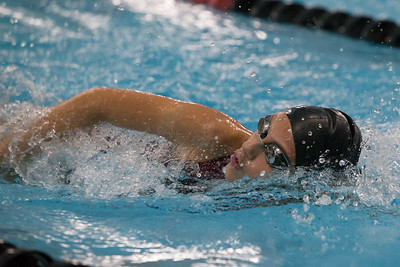 Sheehan's Rachel Kerrigan swims the 200 freestyle Monday at Cheshire Community Pool in Cheshire September 18, 2017 | Justin Weekes / For the Record-Journal