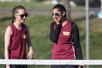 Sheehan's Crystal Gallagher left and Shreya Patel Tuesday at Doolittle Park in Wallingford May 8, 2018 | Justin Weekes / Special to the Record-Journal