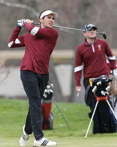 Sheehan's Julian Nirmal tees off on the first hole Monday at The Farms Country Club in Wallingford April 30, 2018 | Justin Weekes / Special to the Record-Journal