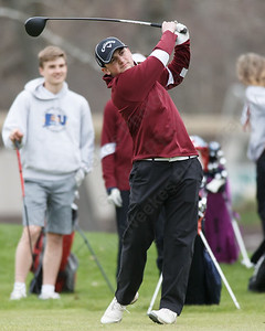 Sheehan's Corey Savenelli on the first tee Monday at The Farms Country Club in Wallingford April 30, 2018 | Justin Weekes / Special to the Record-Journal