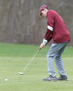 Sheehan's Ryan Carey putts on the first green Monday at The Farms Country Club in Wallingford April 30, 2018 | Justin Weekes / Special to the Record-Journal