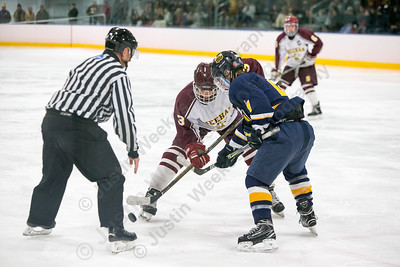 Sheehan's Joseph Romano wins a face off Wednesday at Remsen Arena on the campus of Choate Rosemary Hall in Wallingford December 27, 2017 | Justin Weekes / Special to the Record-Journal