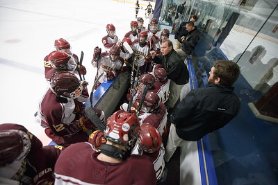 Sheehan's head coach Dave Festa talks with players during a Hand time out in the third period Monday during the CIAC D-III first round play at Remsen Arena on the campus of Choate Rosemary Hall in Wallingford  March 5, 2018 | Justin Weekes / Special to the Record-Journal