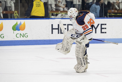 Lyman Hall's goalie Andrew Sacco celebrates after a goal Thursday during the CIAC Division III final at Ingalls Rink on the campus of Yale University March 14, 2019 | Justin Weekes / Special to the Record-Journal