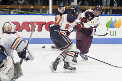 Sheehan's Anthony Romano gets a shot on goal Thursday during the CIAC Division III final at Ingalls Rink on the campus of Yale University March 14, 2019 | Justin Weekes / Special to the Record-Journal