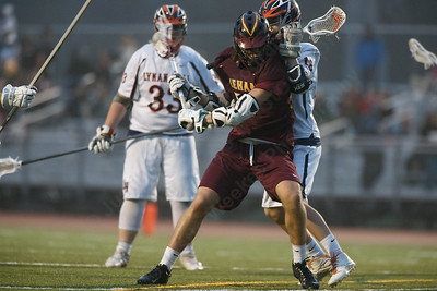 Sheehan's Weston Terzi gets a shot off Friday at Lyman Hall High School in Wallingford April 27, 2018 | Justin Weekes / Special to the Record-Journal