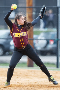 Sheehan's Missy Pereira (19) delivers a pitch Thursday at Amity Regional High School in Woodbridge Apr. 23, 2015 | Justin Weekes / For the Record-Journal