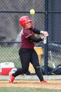 Sheehan's Becca Souza (13) fouls a pitch off to stay alive in the count Thursday at Amity Regional High School in Woodbridge Apr. 23, 2015 | Justin Weekes / For the Record-Journal