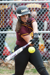 Sheehan's Sara Pisanelli (16) gets under a pitch from Cheshire's Mackenzie Juodaitis (4) Tuesday at Pragemann Park in Wallingford Apr. 14, 2015 | Justin Weekes / For the Record-Journal