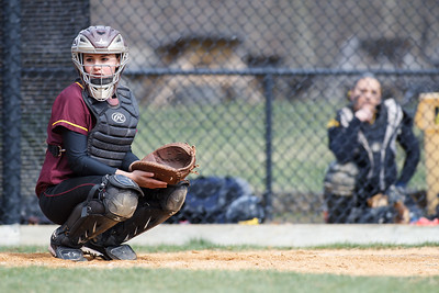 Amity's catcher Teresa Marchitto (26) watches as Sheehan's Mikaeyla Daddio (7) gets a sign called in Thursday at Amity Regional High School in Woodbridge Apr. 23, 2015 | Justin Weekes / For the Record-Journal