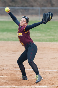 Sheehan's Missy Periera (19) delivers a pitch during a game with Cheshire Tuesday at Pragemann Park in Wallingford Apr. 14, 2015 | Justin Weekes / For the Record-Journal