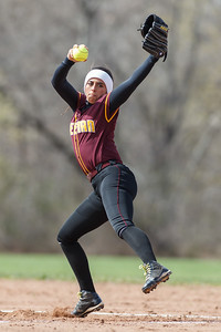 Sheehan's Missy Pereira (19) delivers a pitch during a game with Lyman Hall Monday at Lyman Hall High School in Wallingford  Apr. 27, 2015   Justin Weekes / For the Record-Journal