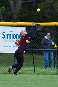 Sheehan's Kelly Brosnan brings in a fly ball from Cheshire's Alexis Hemstock  Wednesday at Cheshire High School in Cheshire May. 4, 2016 | Justin Weekes / For the Record-Journal