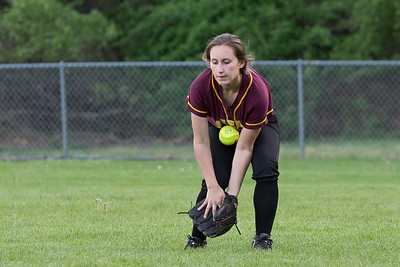 Sheehan's Gabrielle Fiedler bobbles a fly ball allowing Lyman Hall's Katelyn Miller to get on board Monday at Pragemann Park in Wallingford May. 9, 2016 | Justin Weekes / For the Record-Journal