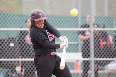 Sheehan's Carolyn Biel drives a hit to right field Wednesday at Pragemann Park in Wallingford May. 10, 2017   Justin Weekes / For the Record-Journal