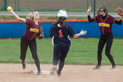 Sheehan's Emily Musso gets the force at second on Lyman Hall's Faith Barbieri  Wednesday at Lyman Hall High School in Wallingford Apr. 19, 2017 | Justin Weekes / For the Record-Journal