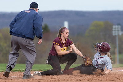 North Haven's Caitlin Ranciato beats the tag from Sheehan's Samantha Iannone at third Monday at Sheehan High School in Wallingford Apr. 17, 2017 | Justin Weekes / For the Record-Journal