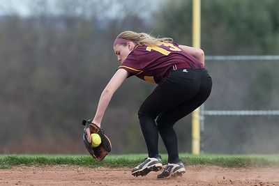 Sheehan's Emily Musso snags a ground ball from North Haven's Caitlin Ranciato Monday at Sheehan High School in Wallingford Apr. 17, 2017 | Justin Weekes / For the Record-Journal