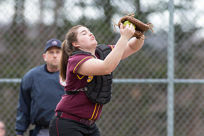 Sheehan's catcher Carolyn Biel brings in a pop up from Cheshire's Mia Juodiatis Wednesday at Cheshire High School in Cheshire Apr. 5, 2017 | Justin Weekes / For the Record-Journal
