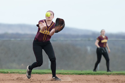 Sheehan's Emily Musso catches a shallow fly ball Monday at Sheehan High School in Wallingford Apr. 17, 2017 | Justin Weekes / For the Record-Journal