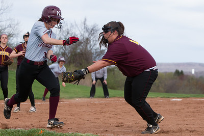 Sheehan's Mackenzie Wilson tags out North Haven's Olivia Petersen Monday at Sheehan High School in Wallingford Apr. 17, 2017 | Justin Weekes / For the Record-Journal