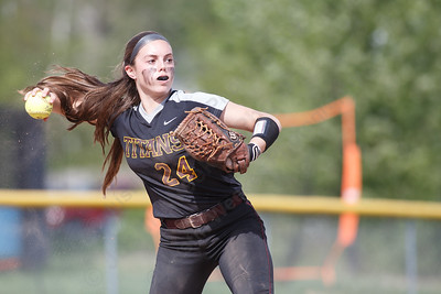 Sheehan's Samantha Iannone throws to first for an out Wednesday at Lyman Hall High School in Wallingford May 9, 2018 | Justin Weekes / Special to the Record-Journal