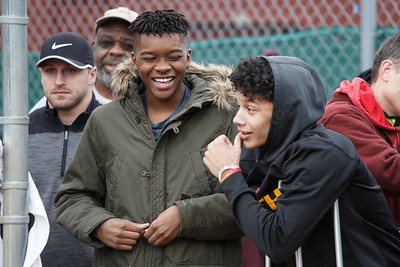Sheehan's Ernest (Tre) Childers left and Jordan Davis were on hand for the benefit game recovering after a car accident Wednesday at Pragemann Park in Wallingford April 18, 2018 | Justin Weekes / Special to the Record-Journal