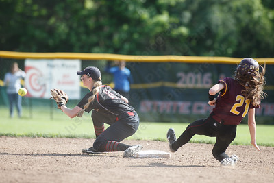 Sheehan's Meghan Murphy beats the throw into second Wednesday during the quarterfinal round if the SCC tournament at Cheshire High School in Cheshire  May 23, 2018   Justin Weekes / Special to the Record-Journal