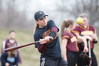 Sheehan's head coach Sarah Wyant hits for infield warm ups Tuesday at Sheehan High School in Wallingford March 27, 2018 | Justin Weekes / Special to the Record-Journal
