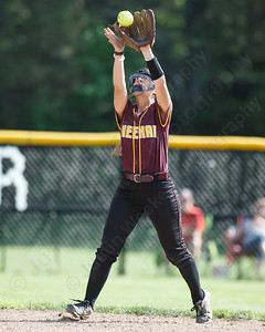 Sheehan's Nicole Dorsey brings in a fly ball to end the inning Wednesday during the quarterfinal round if the SCC tournament at Cheshire High School in Cheshire  May 23, 2018   Justin Weekes / Special to the Record-Journal